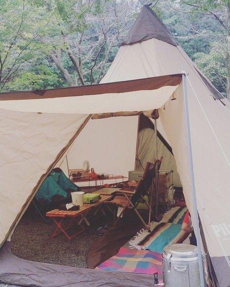 砂利サイトのキャンプの様子
