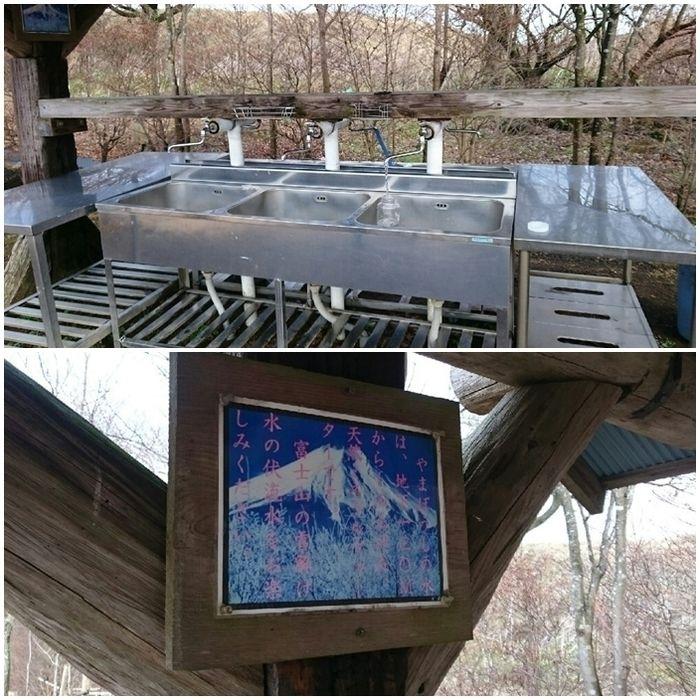 やまぼうしオートキャンプ場の炊事場に書かれた水の説明