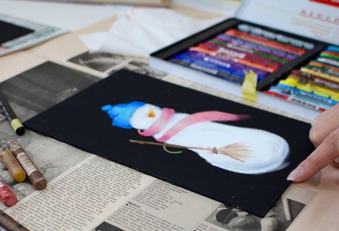 細かい部分意外を書き終えたスノーマンの絵