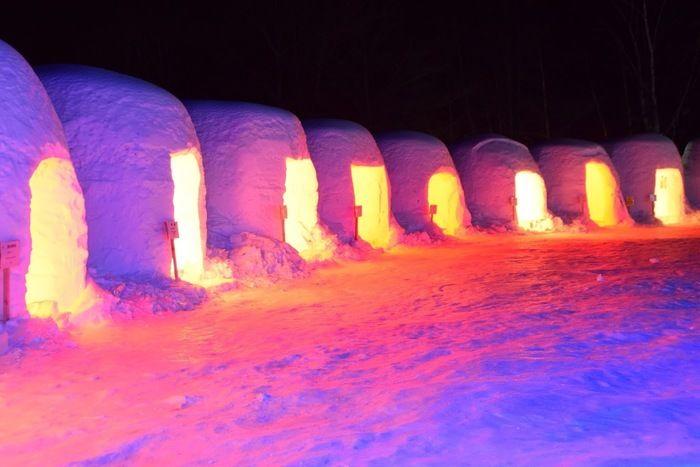 ライトアップされた氷の彫刻