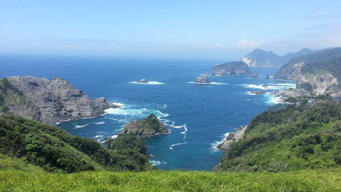 伊豆の山から見た海の景色