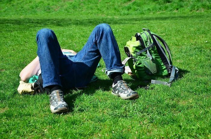 野原に寝転ぶ人