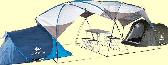 ケシュアのテント間にタープを張った様子