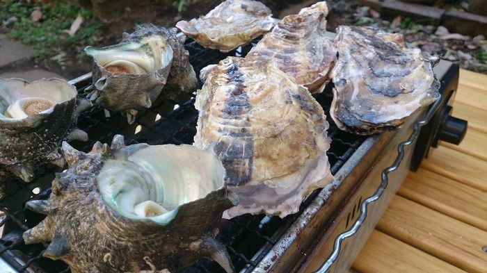 「炉ばた大将」でサザエや牡蠣を焼く様子