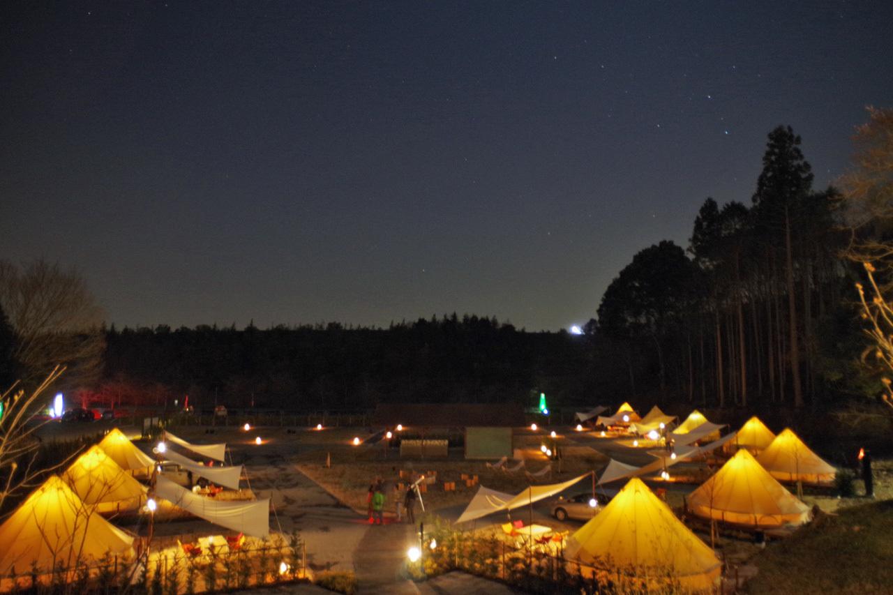【森と星空キャンプヴィレッジ】夜のグランピングエリア