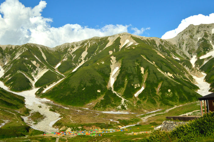 雷鳥沢キャンプ場の山々と小さく見えるカラフルなテント