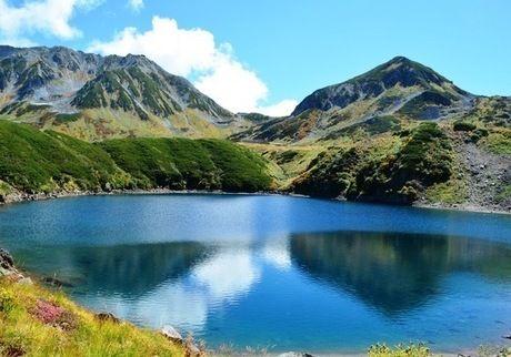 湖面に立山連峰が映るみどりが池