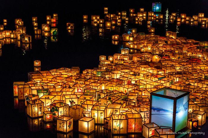 石川県加賀市の加賀友禅灯篭流しの灯篭