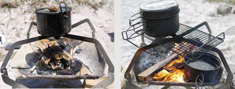 モノラルの焚き火とクッカーを使って料理をする様子