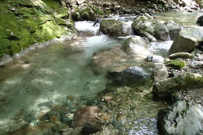 山伏オートキャンプ場内の小川