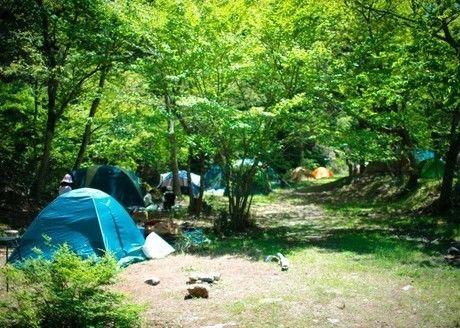 山梨県道志村のキャンプサイト