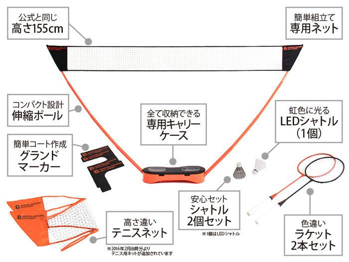 ドッペルギャンガーの携帯型バドミントンを説明したイラスト