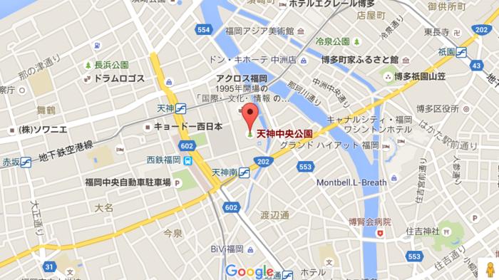 福岡チャリティオークション会場へのマップ