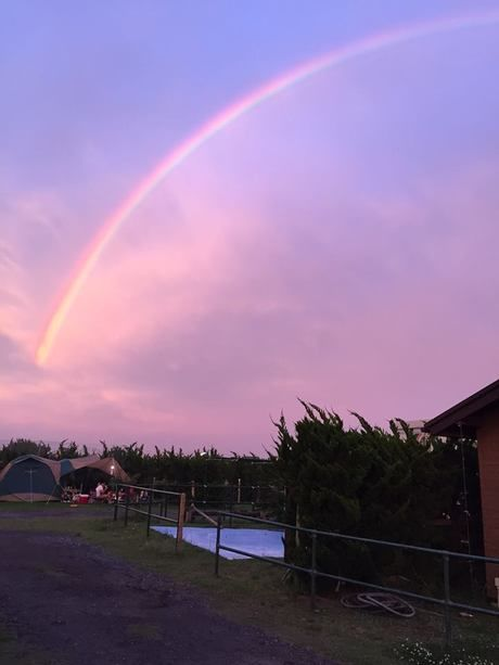 虹がかかった【千葉県】九十九里オートキャンプ場太陽と海