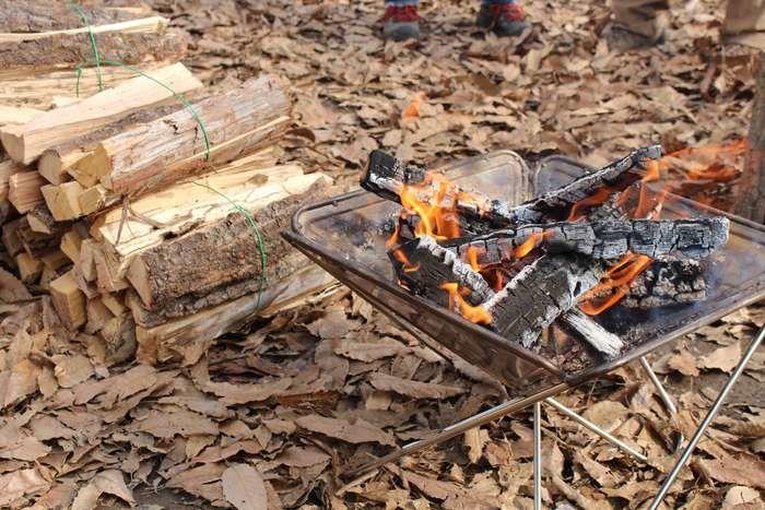 燃える焚き火と薪