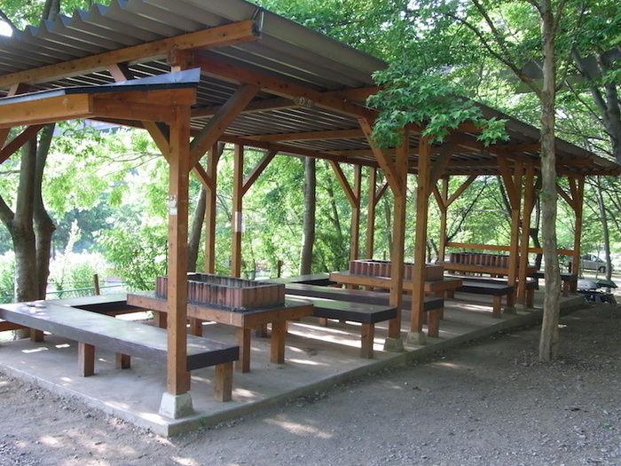 長瀞オートキャンプ場のバーベキュースペースの全体像