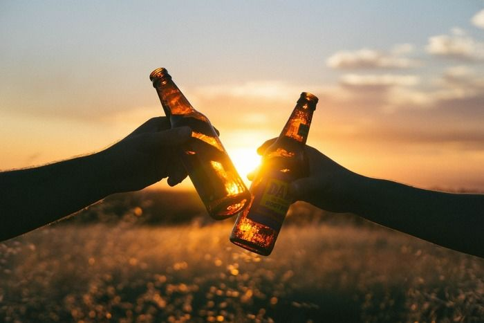 夕焼けとビール