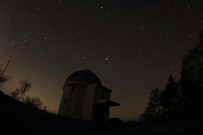 長野県にある星と緑のキャンプ場の夜空