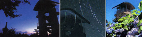 広島県にある星居山森林公園の日の出と天井から星が降る現象と昼のアジサイ