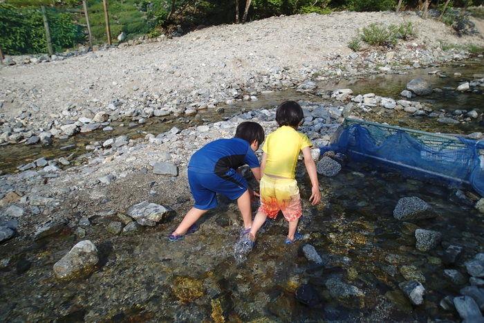 川で魚のつかみ取りをして遊ぶ子供達