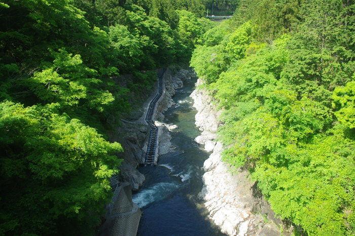 水力発電用の白丸ダムを見下ろした景色