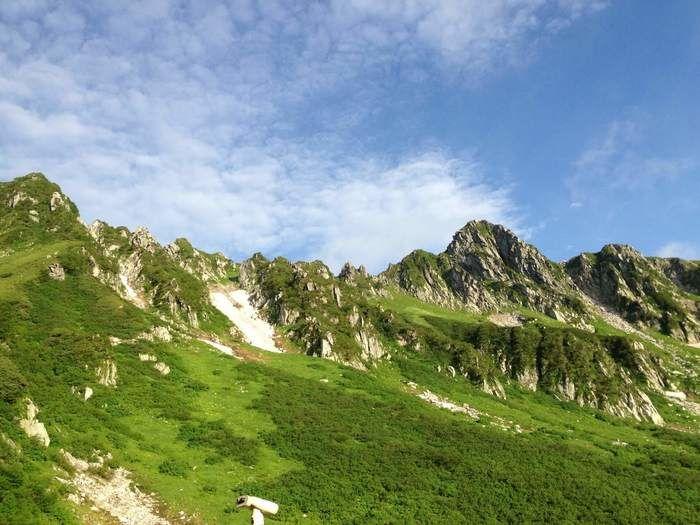 青空と険しい山脈
