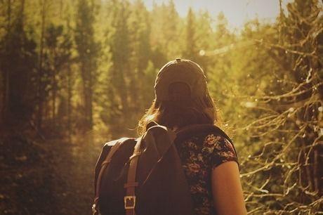 林を見つめる女性の後ろ姿
