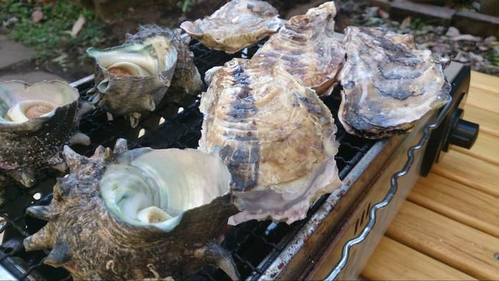 タープで海鮮を焼く様子