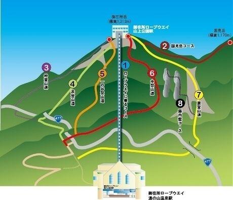 御在所岳の登山マップ