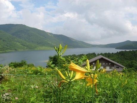 野反湖キャンプ場から見えるコテージと湖