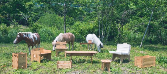 外に持ち出したYOKAの家具と可愛い動物たち
