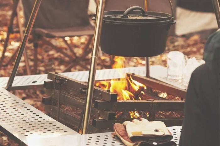 キャンプでの調理の様子