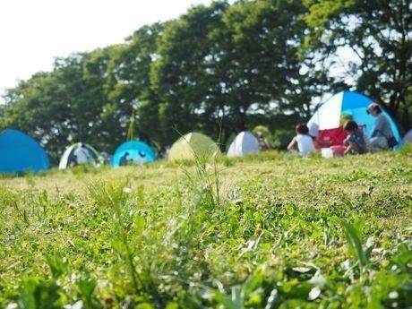 芝生の上でキャンプを楽しむ人々