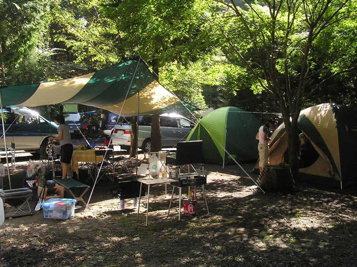 猪の頭オートキャンプ場のキャンプサイトの様子