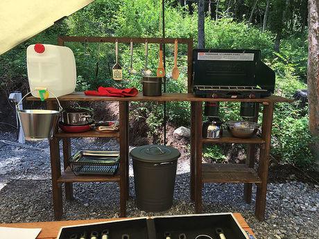 尾白キャンプ場のキッチン用品