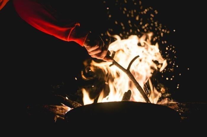焚き火に木を焚べる様子