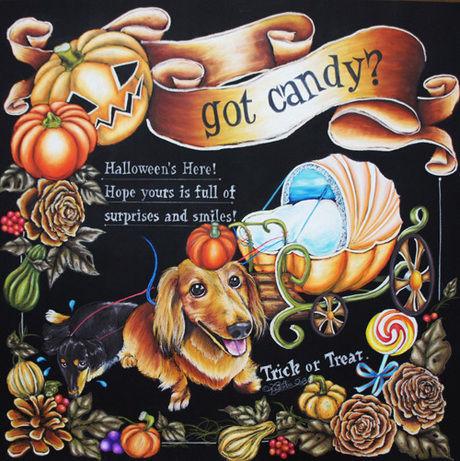 ハロウィンのイベント用に描かれたカボチャやキャンディのチョークアート