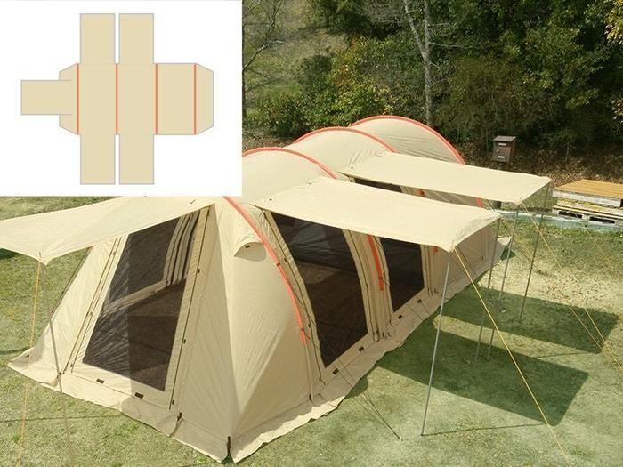 キャンプ場に立ったカマボコテント
