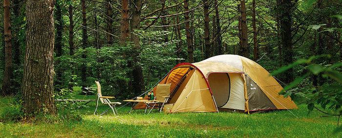 林間に張られたスノーピークのアメニティドーム