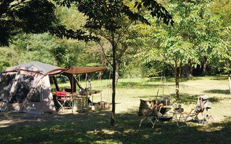 キャンプ場にたてられたスノーピークのテント、トルテュ pro.