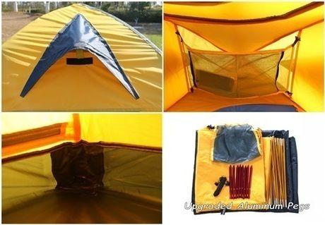 インナーとフライシートそれぞれにベンチレーション用の開口部があるテント