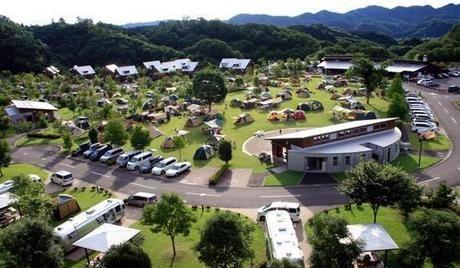 大子広域公園オートキャンプ場グリンヴィラを空撮した全景