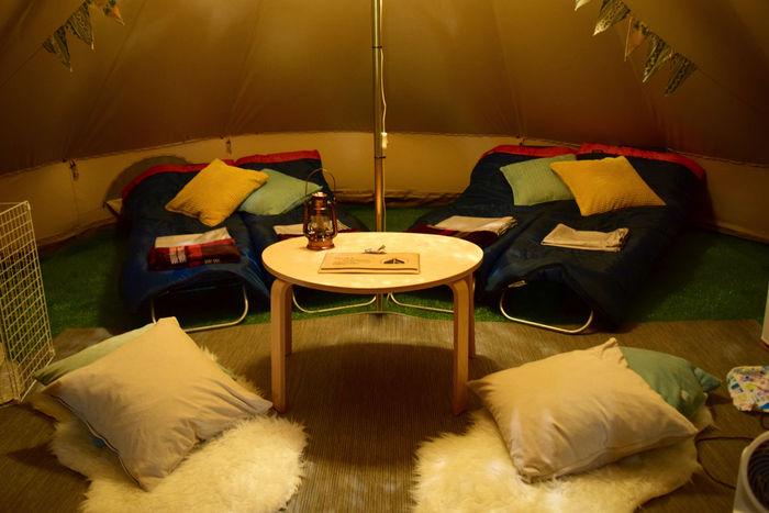 フローラキャンプサイトのテント内の様子