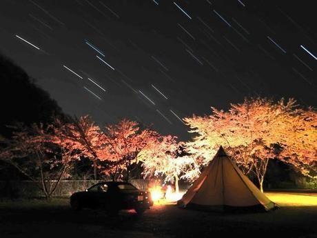 星空の下のキャンプ場