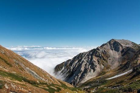 雄大な山々と上から見た雲