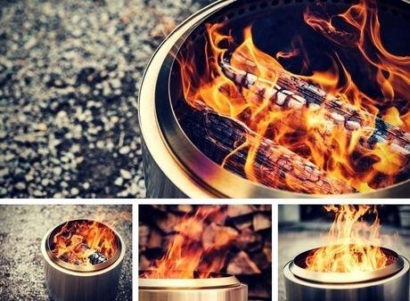 火が燃えているソロストーブ