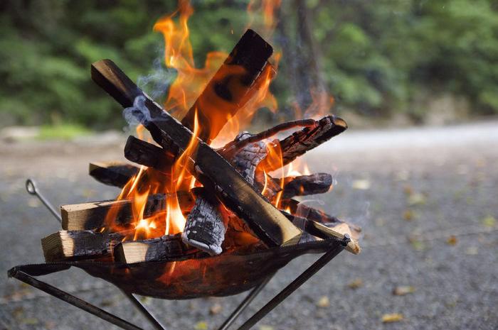 焚き火の薪が燃える様子