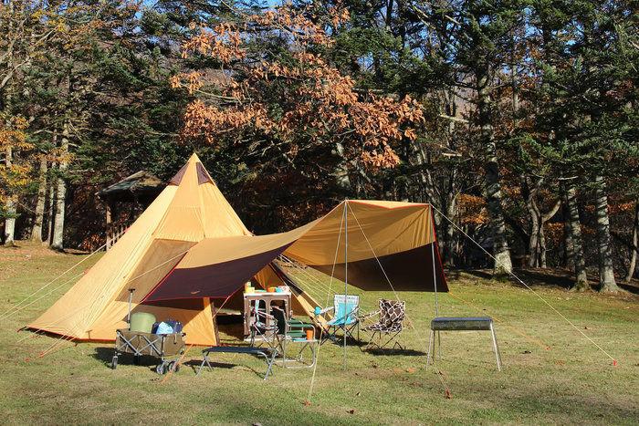 ノースイーグルのキャンプギアを使ったキャンプの様子