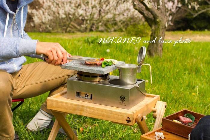 公園で野燗炉を使い、バーベキューをする様子