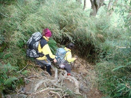 険しい登山道を下る人